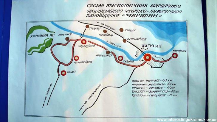 Карта туристичних маршрутів Чигиринського району